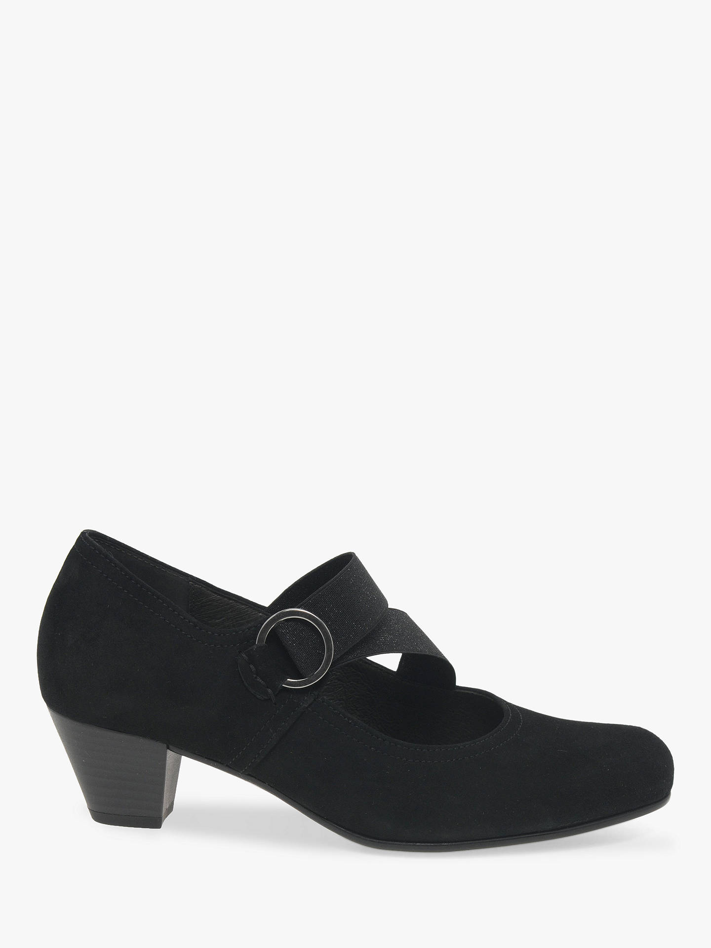Gabor Strawberry Extra Wide Fit Suede Mary Jane Court Shoes, Black