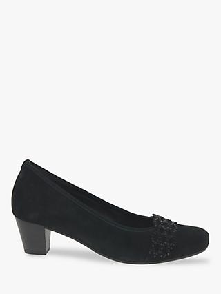 Gabor Dolores Extra Wide Suede Court Shoes, Black