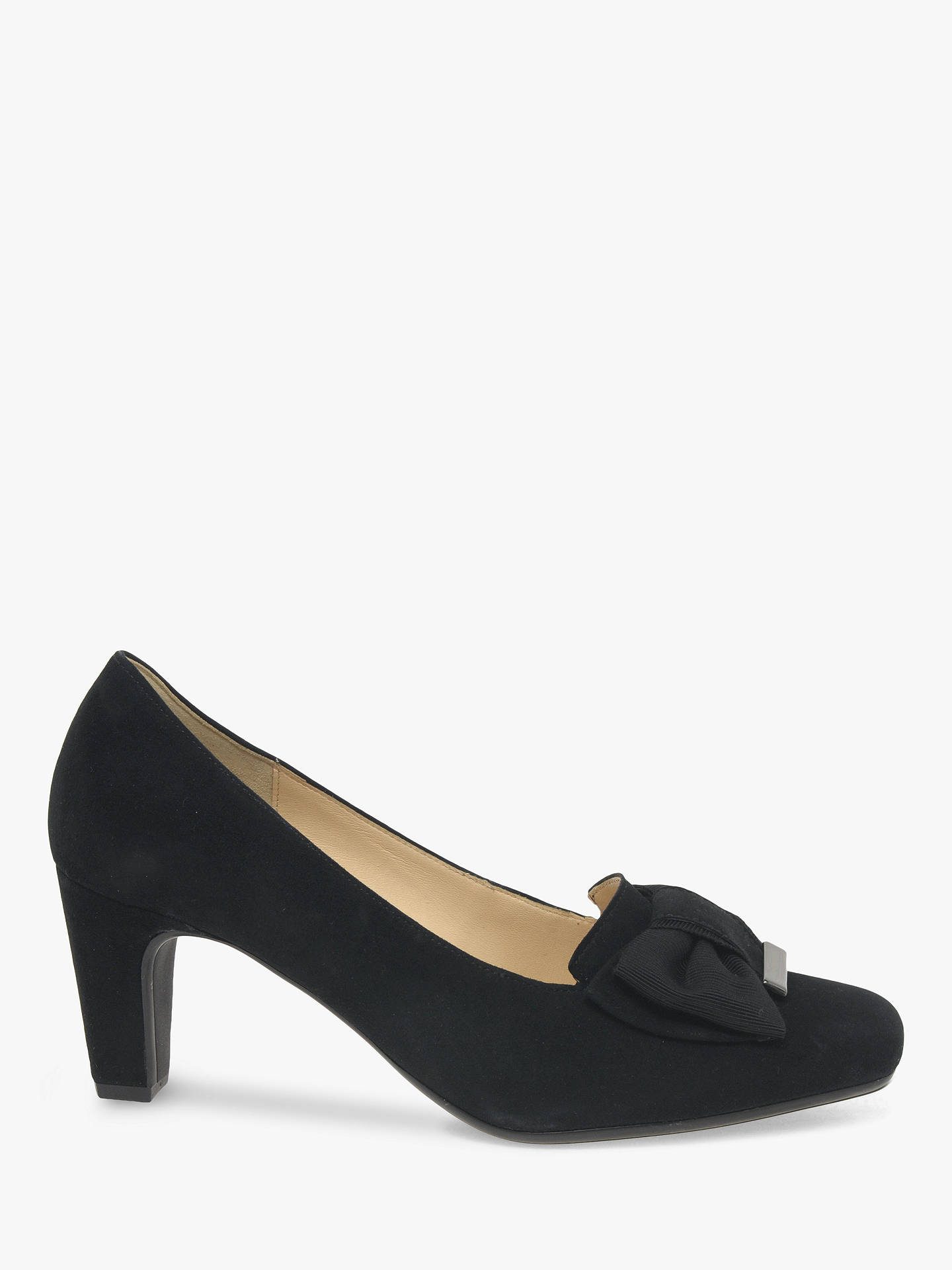 Gabor Vegas Suede Bow Front Court Shoes, Black at John Lewis