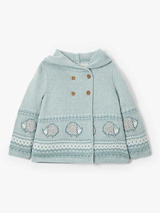 John Lewis & Partners Heirloom Collection Baby Knitted Hooded Cardigan, Blue