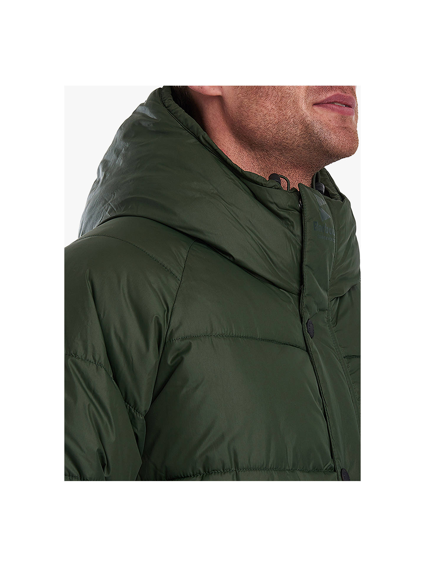 Buy Barbour Hooded Baffle Jacket, Kombo Green, XXL Online at johnlewis.com