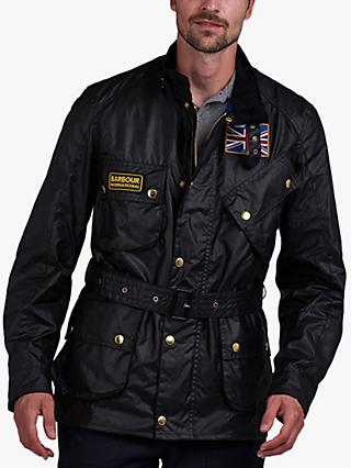 Barbour International Union Jack Wax Jacket, Black