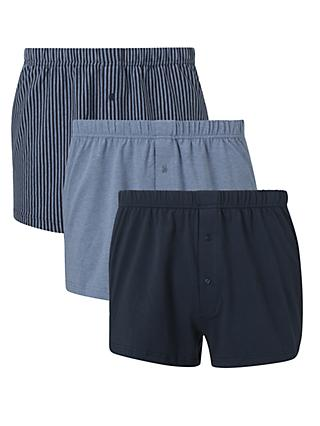 John Lewis & Partners Organic Cotton Jersey Double Button Boxers, Pack of 3, Blue/Multi