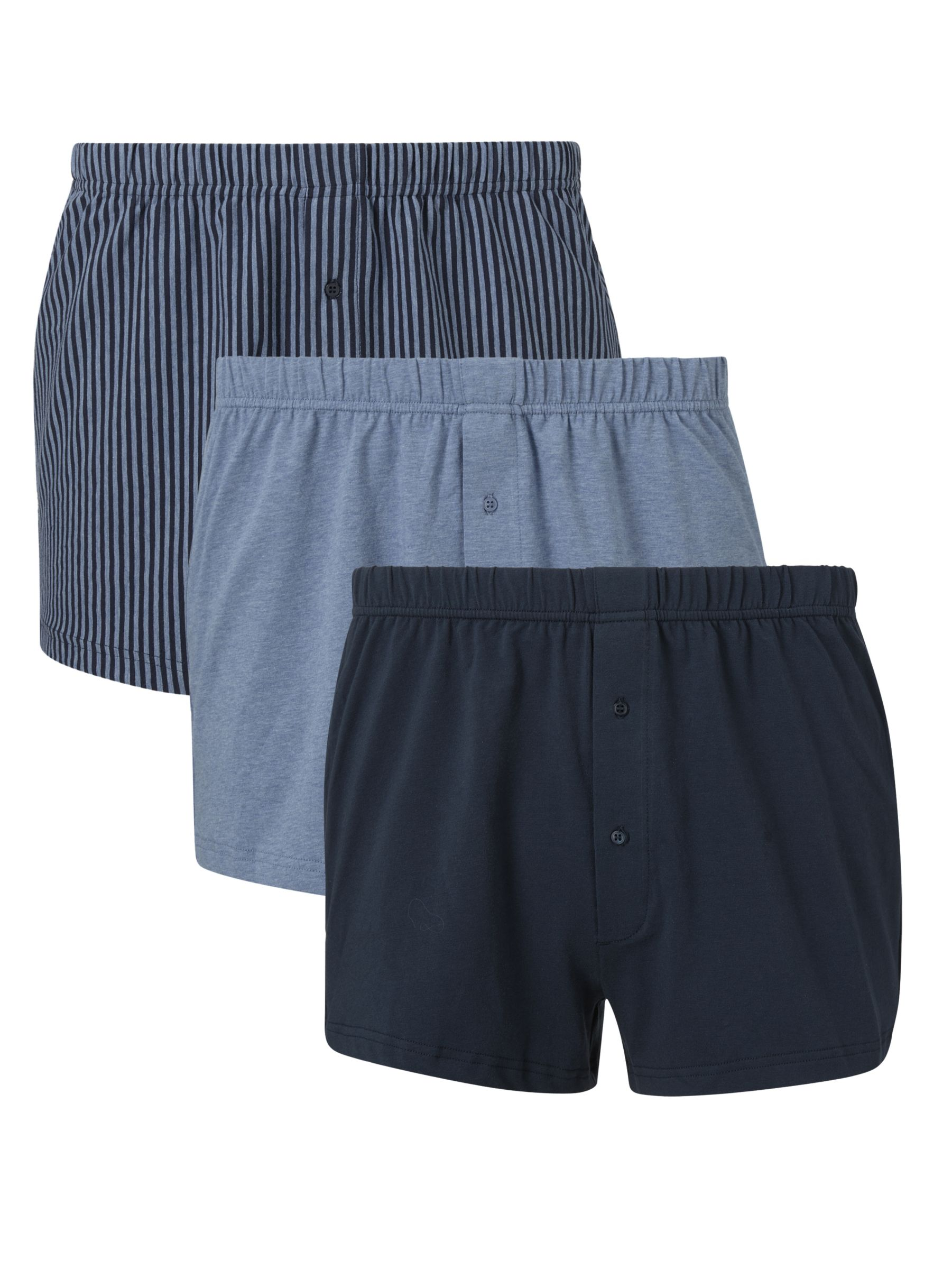 John Lewis & Partners John Lewis & Partners Organic Cotton Jersey Double Button Boxers, Pack of 3, Blue/Multi