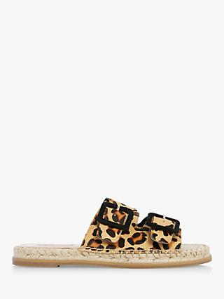 Dune Loulas Leather Leopard Print Buckle Sandals, Multi