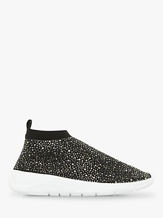 Dune Emerald Embellished Sock Trainers, Black