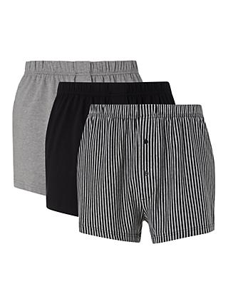 John Lewis & Partners Organic Cotton Jersey Double Button Boxers, Pack of 3, Black/Grey