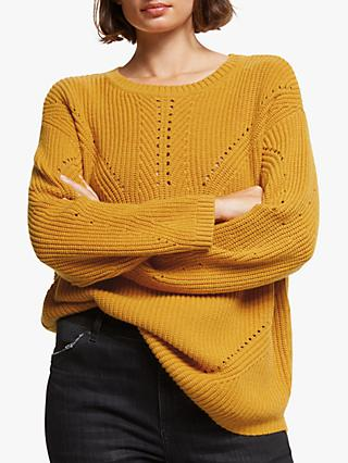 AND/OR Delores Textured Knit Jumper, Golden Yellow