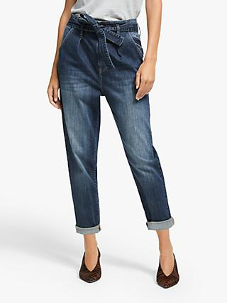 AND/OR Hollywood High Rise Tie Waist Jeans, Dark Rock