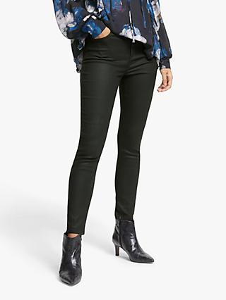 AND/OR High Rise Skinny Jeans, Coated Black