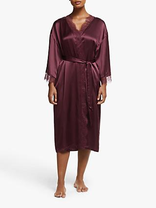 John Lewis & Partners Rita Long Silk Robe, Wine