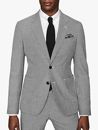 Reiss Napoleon Dogtooth Modern Fit Suit Jacket, Black/White