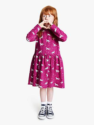 John Lewis & Partners Girls' Unicorn Print Dress, Berry