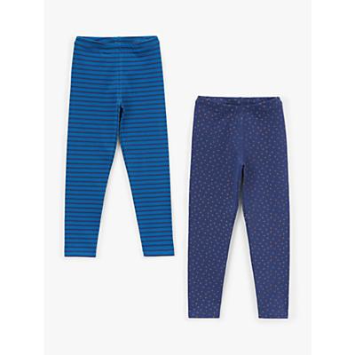 John Lewis & Partners Girls' Leggings, Pack of 2, Blue