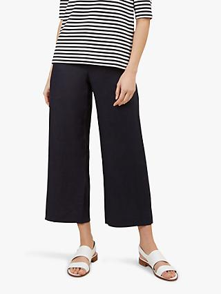 Hobbs Nicole Cropped Linen Trousers, Navy