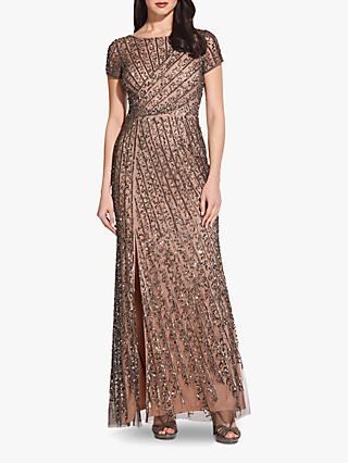 Adrianna Papell Beaded Long Dress, Lead/Nude