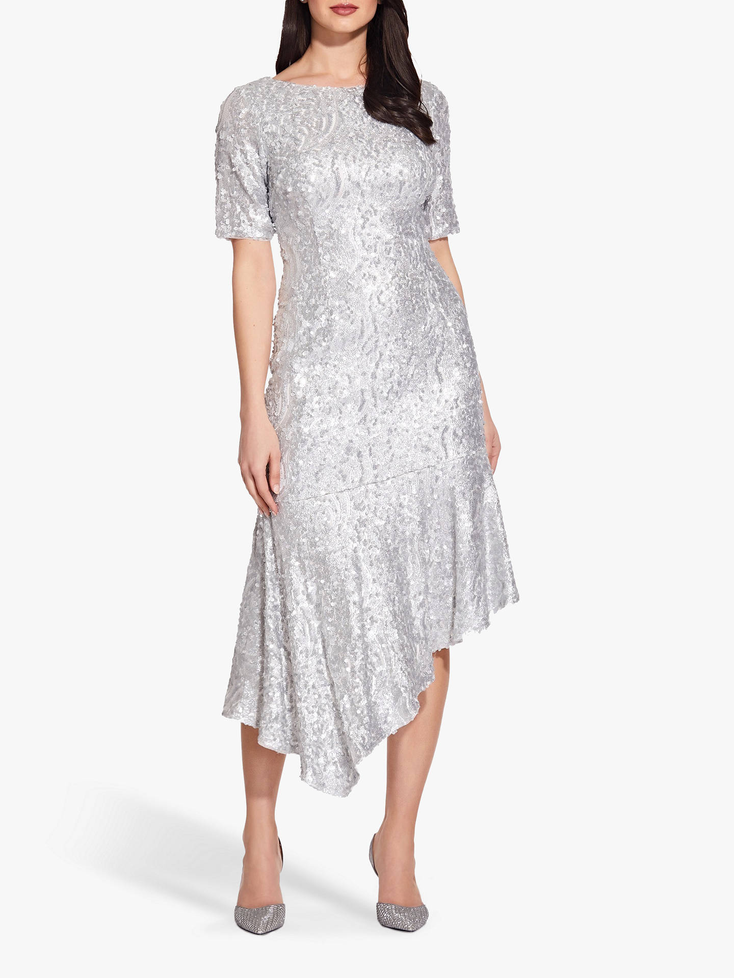 Buy Adrianna Papell Sequin Midi Dress, Silver, 6 Online at johnlewis.com