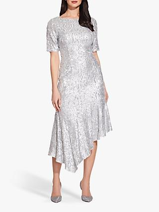 Adrianna Papell Sequin Midi Dress, Silver