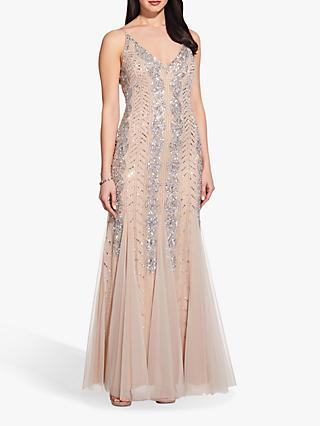 Adrianna Papell Beaded Long Gown, Silver/Nude