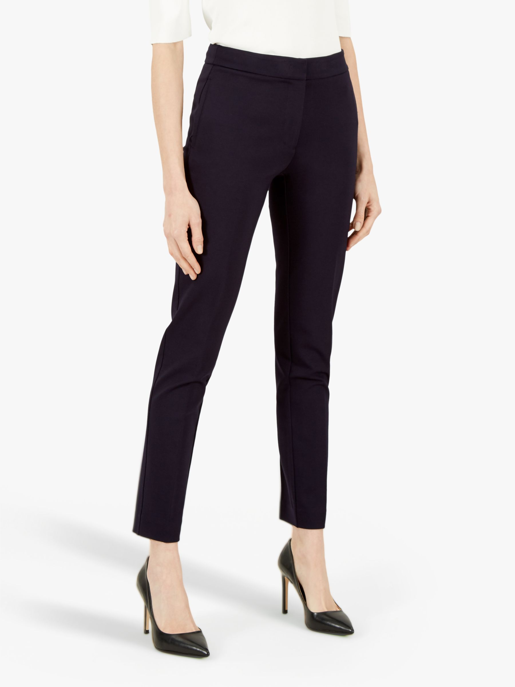 Jaeger Jaeger Ponte Tailored Linen Ankle Trousers