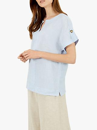 Jaeger Cross Dye Linen T-shirt, Blue