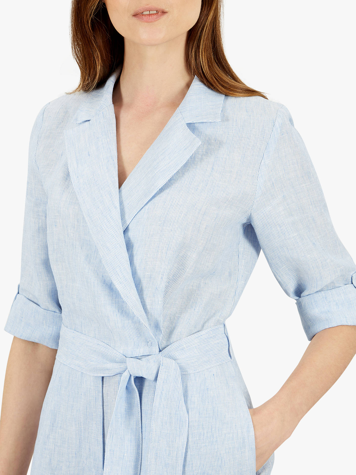 Buy Jaeger Linen Jumpsuit, Blue, 8 Online at johnlewis.com
