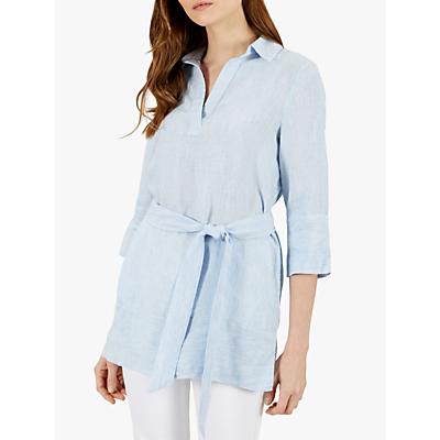 Jaeger Linen Waist Tie Top, Light Blue