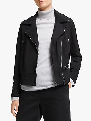 John Lewis & Partners Leather Biker Jacket, Black