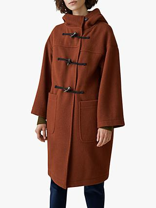 Toast Boiled Wool Duffle Coat, Rust