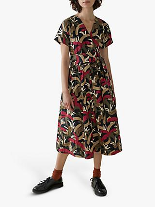 Toast Palm Print Cotton Poplin Dress, Olive