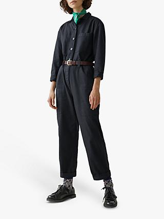 Toast Brushed Cotton Twill Jumpsuit, Slate