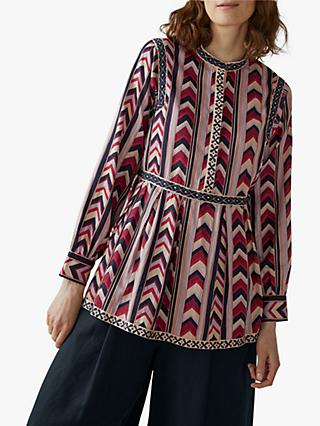 Toast Chevron Printed Tiered Top, Ruby Red