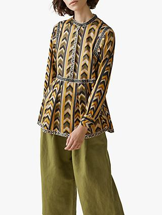 Toast Chevron Printed Tiered Top, Olive