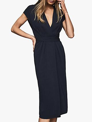 Reiss Maxime Wrap Front Dress, Navy