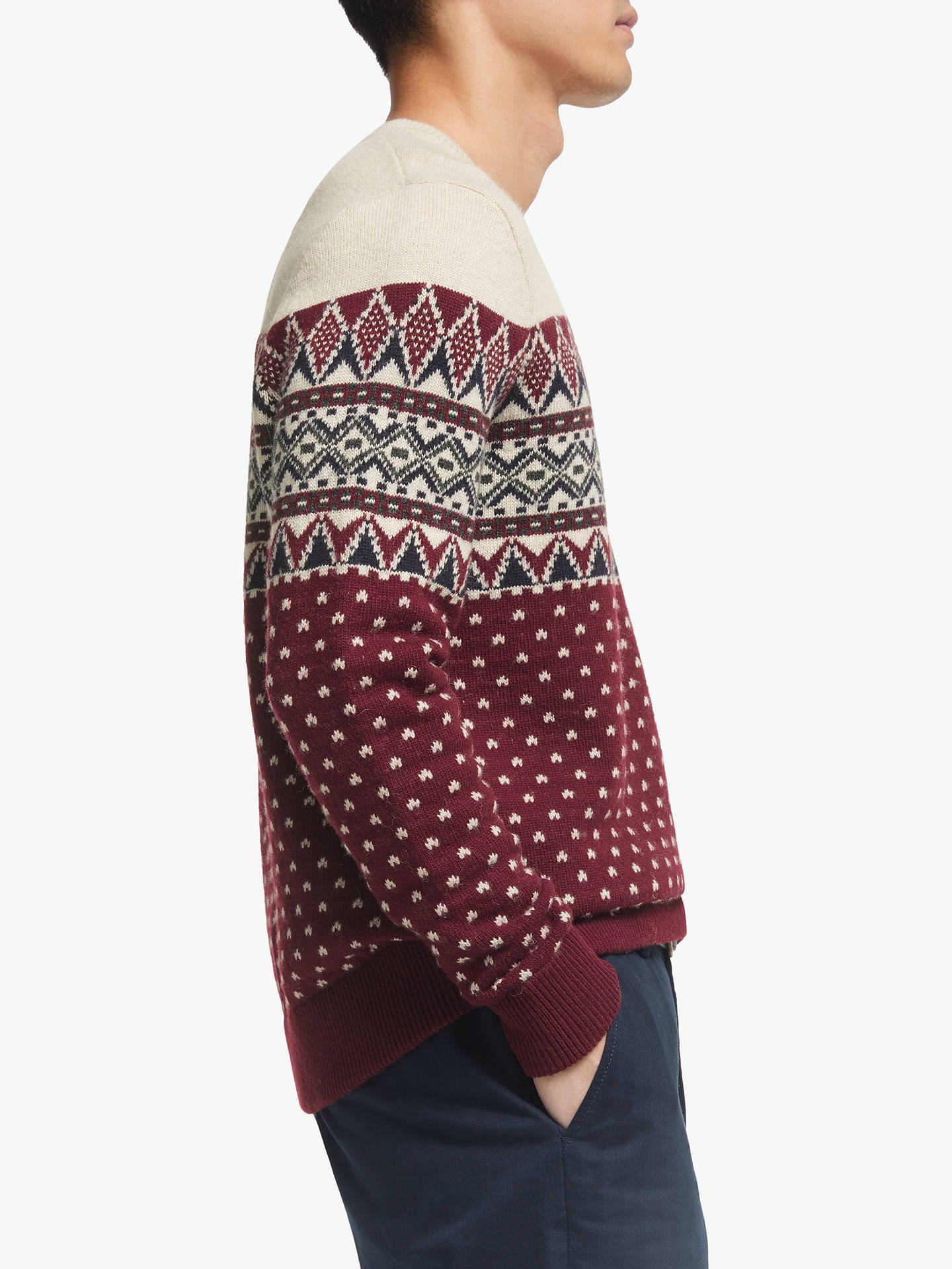 Buy John Lewis & Partners Fair Isle Jumper, Redcurrant, S Online at johnlewis.com