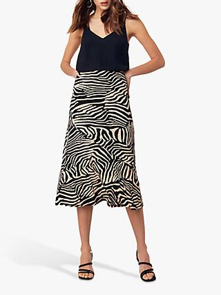 Oasis Tiger Bias Skirt, Multi/Natural