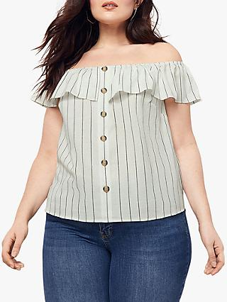 Oasis Curve Bardot Linen Look Button Top, Multi/Natural