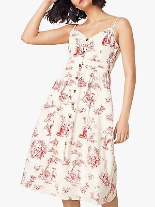 Oasis Tree Print Cotton Midi Dress
