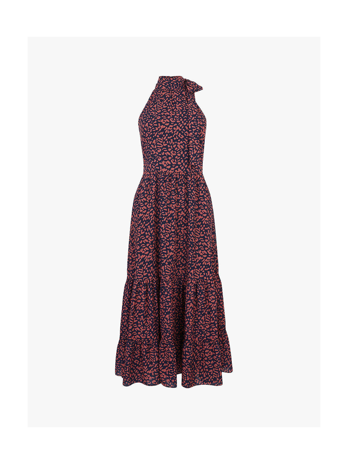 Buy Oasis Animal High Neck Dress, Multi/Red, 18L Online at johnlewis.com