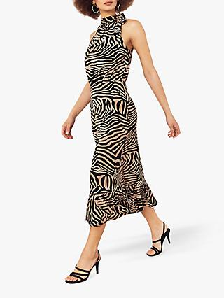 Oasis Tiger Halter Dress, Multi/Natural