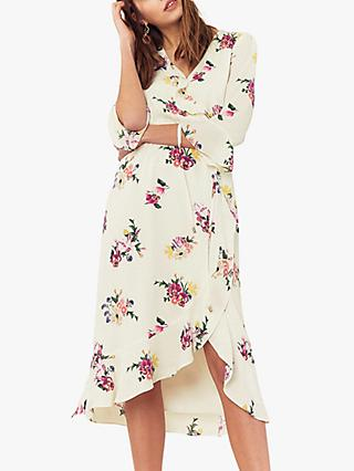 Oasis Flute Sleeve Midi Dress, Multi/Natural