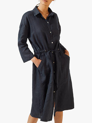 Buy Jigsaw Linen Shirt Dress, Navy, S Online at johnlewis.com