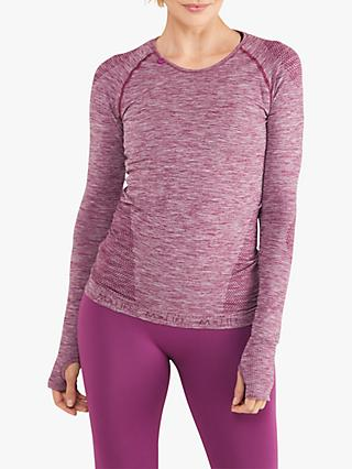 M Life Seamless Love Sleeve Yoga T-Shirt, Berry Marl