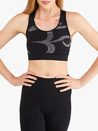 M Life Om Print Sports Bra, Black/White