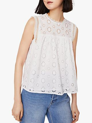 Warehouse Broderie Shell Top, White