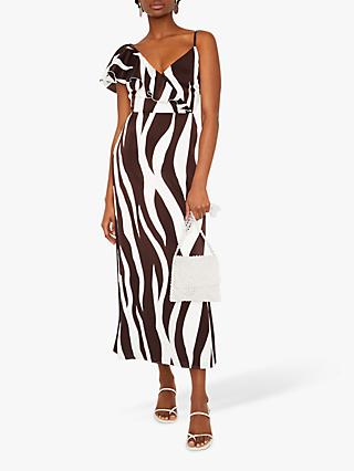 c132e2dda2e Warehouse Animal Stripe Frill Dress
