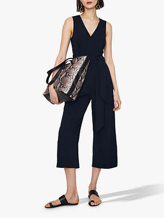 Buy Warehouse Open Back Jumpsuit, Navy, 16 Online at johnlewis.com