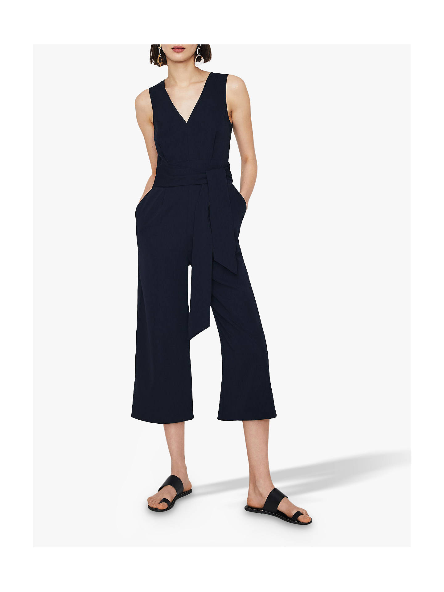 Buy Warehouse Open Back Jumpsuit, Navy, 12 Online at johnlewis.com