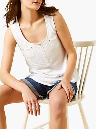 White Stuff Happy Holidays Cotton Vest, Pearl White