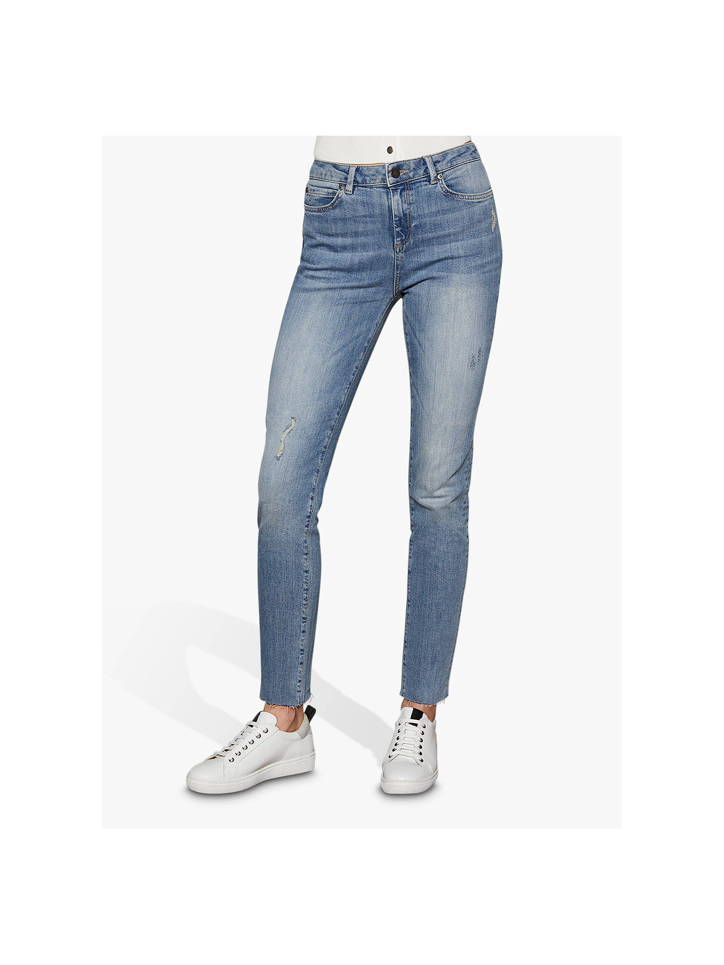 Buy Mint Velvet Houston Distressed Jeans, Blue, 6S Online at johnlewis.com